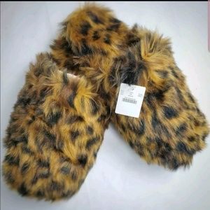 J CREW Slippers L Large 11 12 Leopard Brown Furry